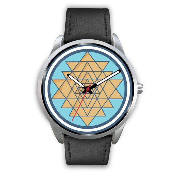 Sri Yantra Hindu Spiritual Symbol Custom-Designed Wrist Watch - Mens 40Mm / Black Leather - Silver Watch