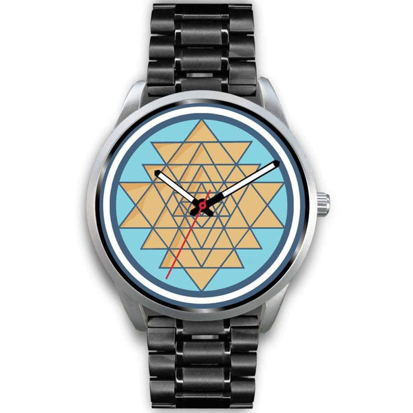 Sri Yantra Hindu Spiritual Symbol Custom-Designed Wrist Watch - Mens 40Mm / Black Metal Link - Silver Watch
