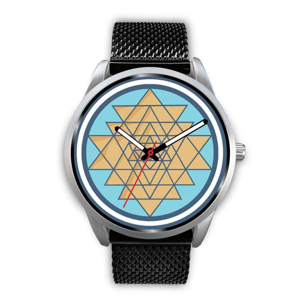 Sri Yantra Hindu Spiritual Symbol Custom-Designed Wrist Watch - Mens 40Mm / Black Metal Mesh - Silver Watch
