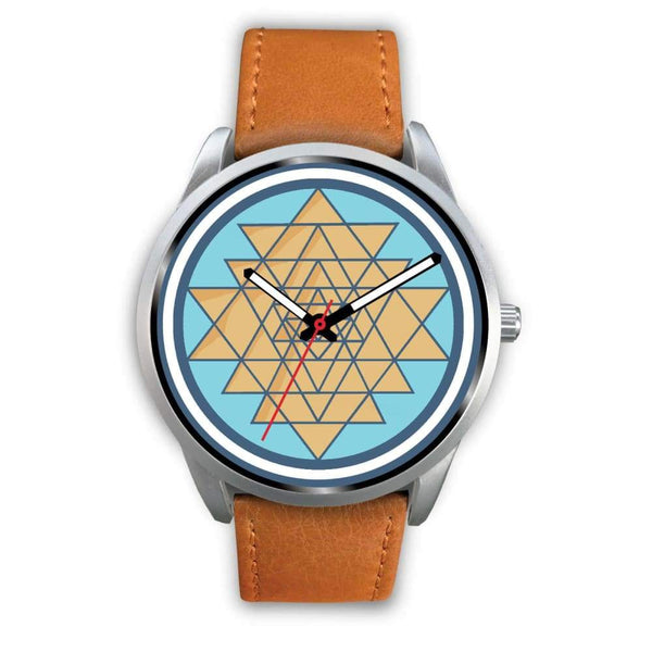 Sri Yantra Hindu Spiritual Symbol Custom-Designed Wrist Watch - Mens 40Mm / Brown Leather - Silver Watch