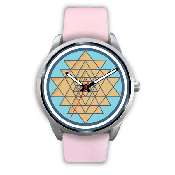 Sri Yantra Hindu Spiritual Symbol Custom-Designed Wrist Watch - Mens 40Mm / Pink Leather - Silver Watch