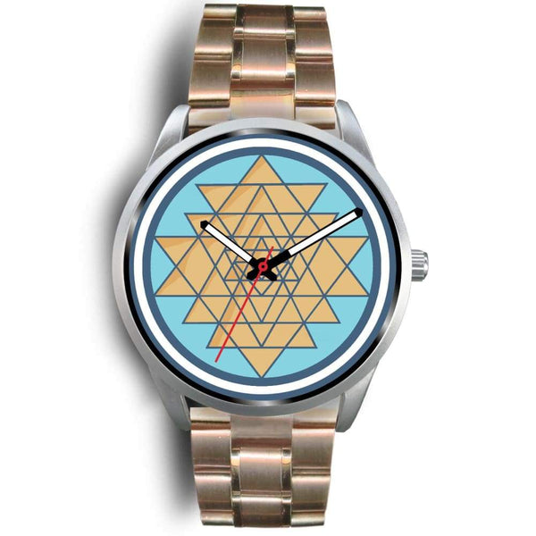 Sri Yantra Hindu Spiritual Symbol Custom-Designed Wrist Watch - Mens 40Mm / Rose Gold Metal Link - Silver Watch