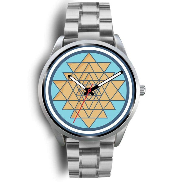 Sri Yantra Hindu Spiritual Symbol Custom-Designed Wrist Watch - Mens 40Mm / Silver Metal Link - Silver Watch