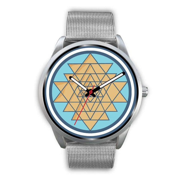 Sri Yantra Hindu Spiritual Symbol Custom-Designed Wrist Watch - Mens 40Mm / Silver Metal Mesh - Silver Watch