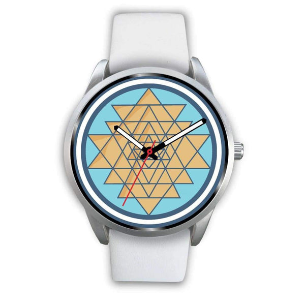Sri Yantra Hindu Spiritual Symbol Custom-Designed Wrist Watch - Mens 40Mm / White Leather - Silver Watch