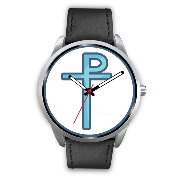 Staurogram Christian Symbol Custom-Designed Wrist Watch - Mens 40Mm / Black Leather - Silver Watch