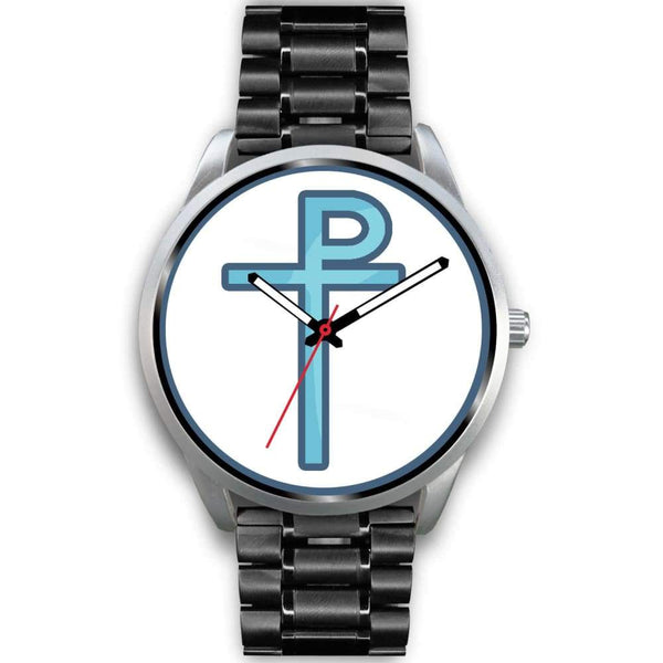 Staurogram Christian Symbol Custom-Designed Wrist Watch - Mens 40Mm / Black Metal Link - Silver Watch