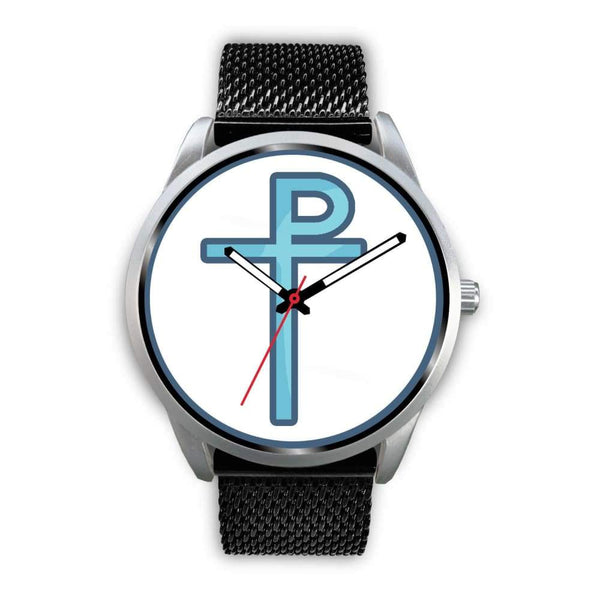 Staurogram Christian Symbol Custom-Designed Wrist Watch - Mens 40Mm / Black Metal Mesh - Silver Watch