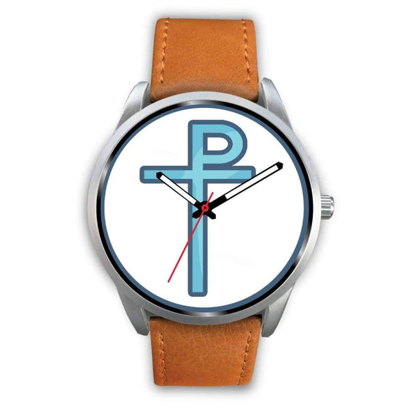 Staurogram Christian Symbol Custom-Designed Wrist Watch - Mens 40Mm / Brown Leather - Silver Watch
