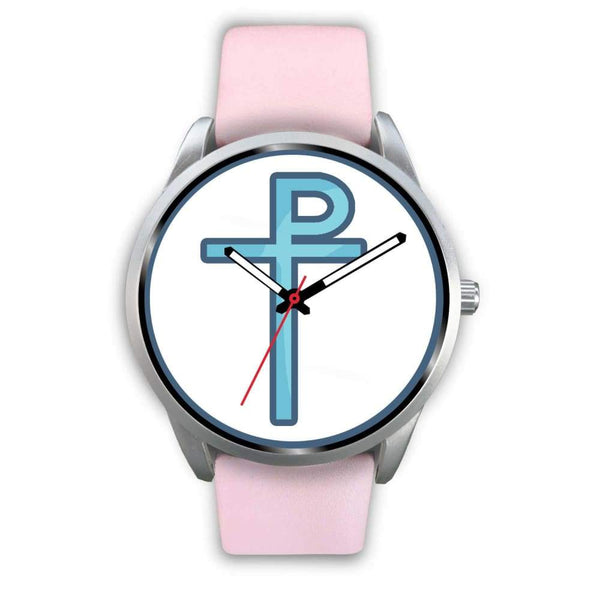 Staurogram Christian Symbol Custom-Designed Wrist Watch - Mens 40Mm / Pink Leather - Silver Watch