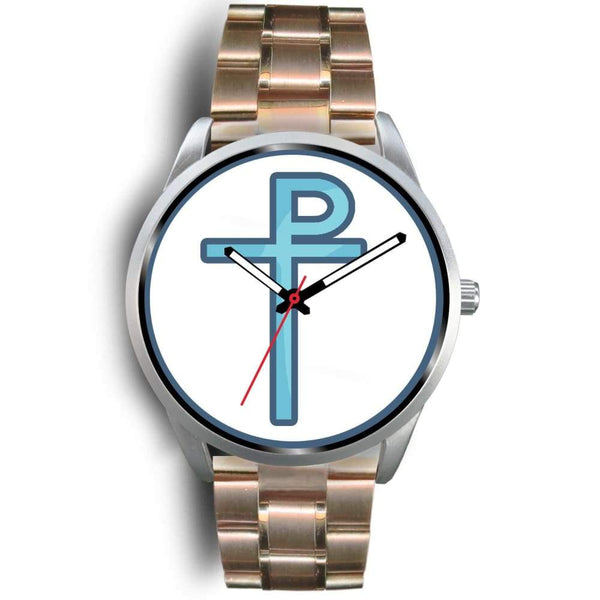 Staurogram Christian Symbol Custom-Designed Wrist Watch - Mens 40Mm / Rose Gold Metal Link - Silver Watch
