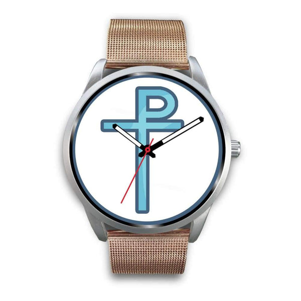 Staurogram Christian Symbol Custom-Designed Wrist Watch - Mens 40Mm / Rose Gold Metal Mesh - Silver Watch