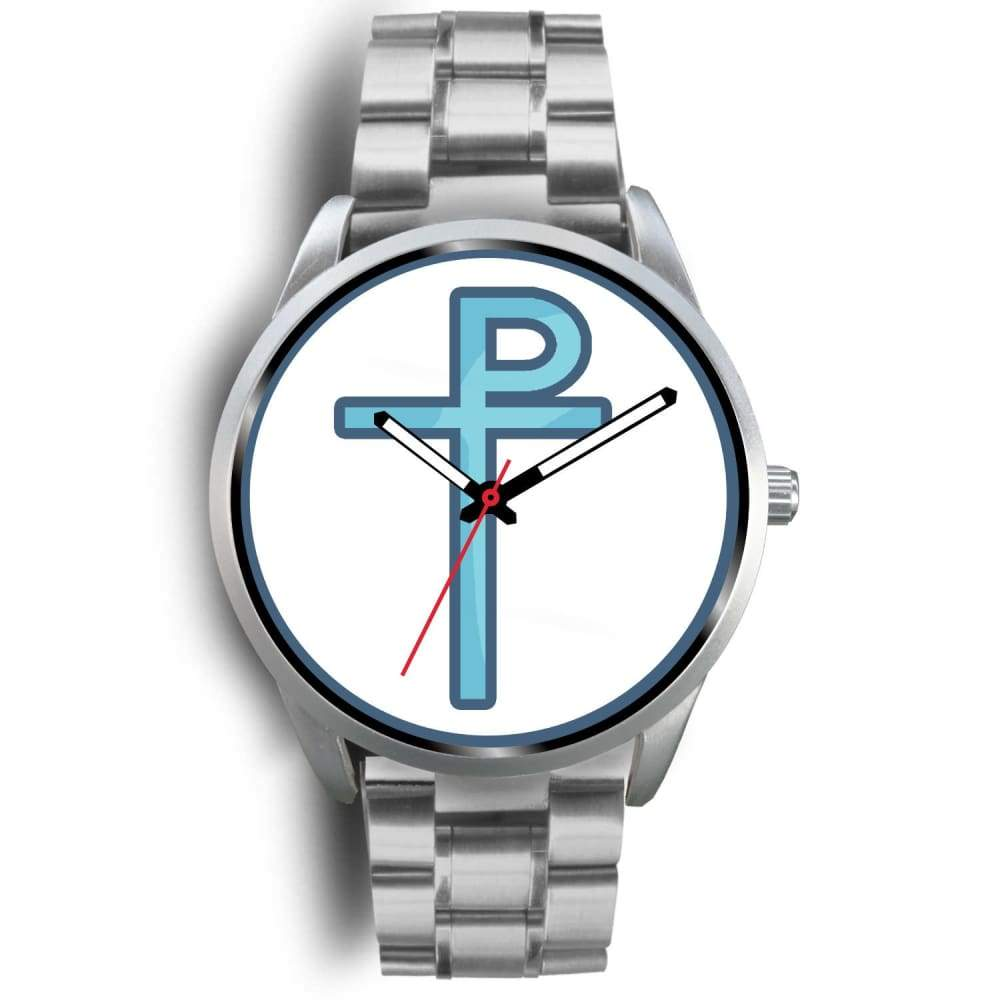 Staurogram Christian Symbol Custom-Designed Wrist Watch - Mens 40Mm / Silver Metal Link - Silver Watch