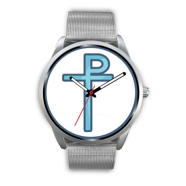 Staurogram Christian Symbol Custom-Designed Wrist Watch - Mens 40Mm / Silver Metal Mesh - Silver Watch