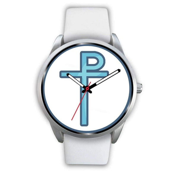 Staurogram Christian Symbol Custom-Designed Wrist Watch - Mens 40Mm / White Leather - Silver Watch