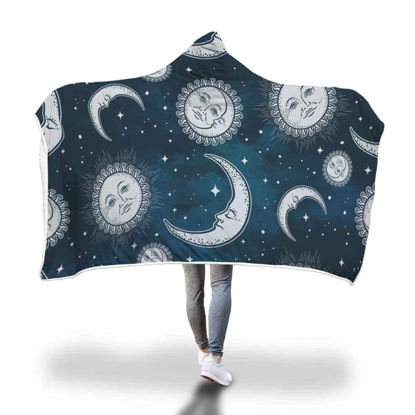 Sun Moon And Stars Hooded Blanket - Hooded Blanket