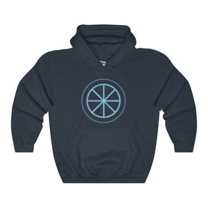 Sun Wheel Pagan Wiccan Symbol Unisex Heavy Blend Hooded Sweatshirt - Navy / L - Hoodie