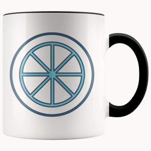 Sun Wheel Wiccan Pagan Spiritual Symbol 11Oz. Ceramic White Mug - Black - Drinkware