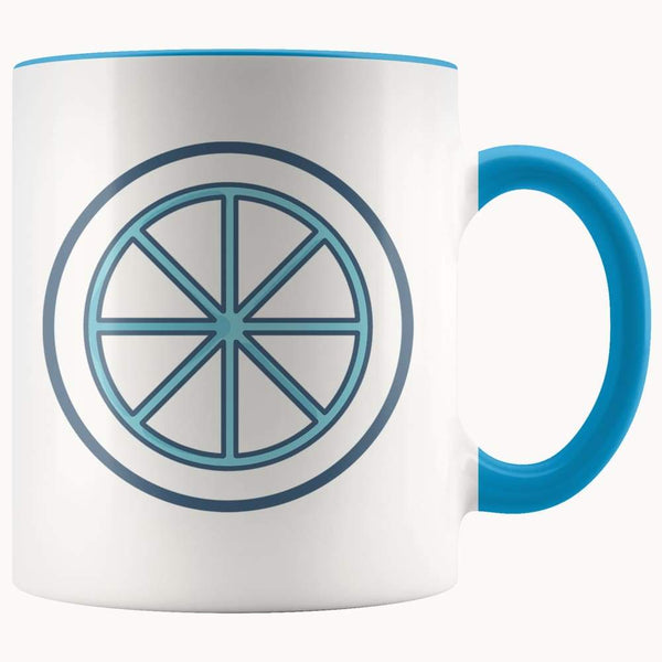 Sun Wheel Wiccan Pagan Spiritual Symbol 11Oz. Ceramic White Mug - Blue - Drinkware