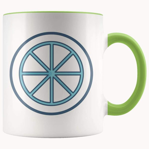 Sun Wheel Wiccan Pagan Spiritual Symbol 11Oz. Ceramic White Mug - Green - Drinkware