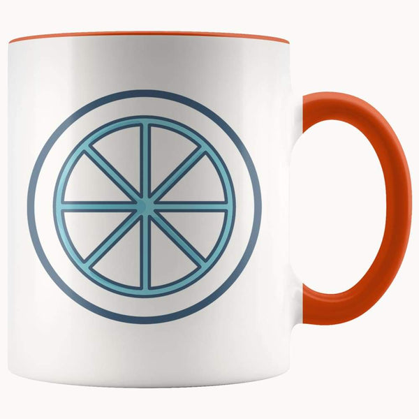 Sun Wheel Wiccan Pagan Spiritual Symbol 11Oz. Ceramic White Mug - Orange - Drinkware