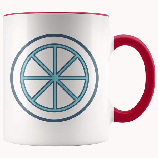 Sun Wheel Wiccan Pagan Spiritual Symbol 11Oz. Ceramic White Mug - Red - Drinkware
