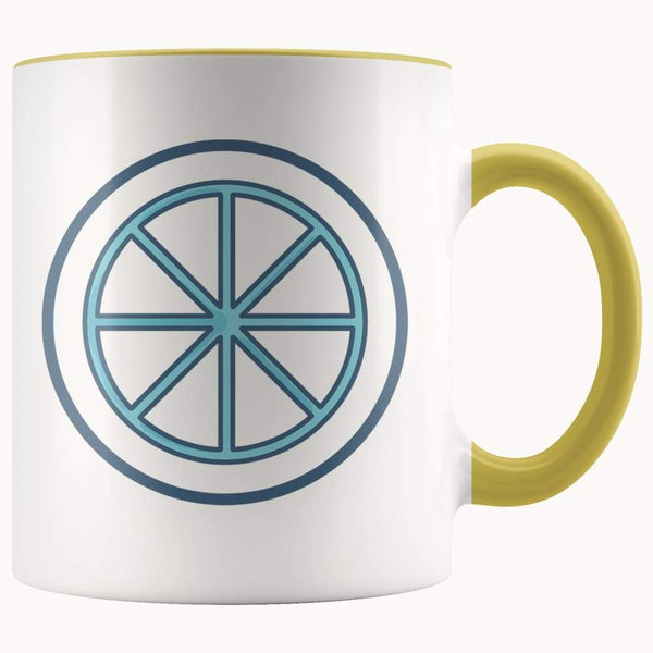 Sun Wheel Wiccan Pagan Spiritual Symbol 11Oz. Ceramic White Mug - Yellow - Drinkware