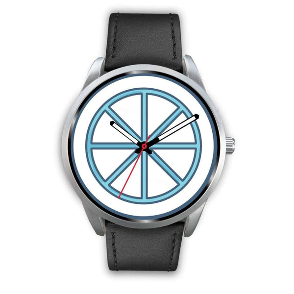 Sun Wheel Wiccan Symbol Custom-Designed Wrist Watch - Mens 40Mm / Black Leather - Silver Watch