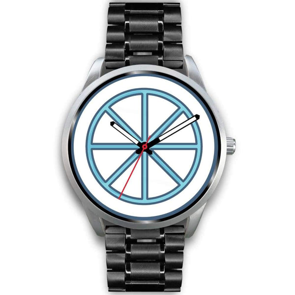 Sun Wheel Wiccan Symbol Custom-Designed Wrist Watch - Mens 40Mm / Black Metal Link - Silver Watch