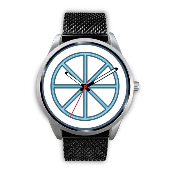 Sun Wheel Wiccan Symbol Custom-Designed Wrist Watch - Mens 40Mm / Black Metal Mesh - Silver Watch