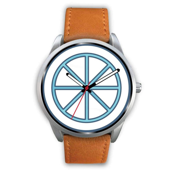 Sun Wheel Wiccan Symbol Custom-Designed Wrist Watch - Mens 40Mm / Brown Leather - Silver Watch