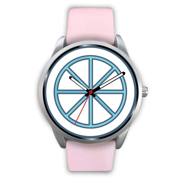 Sun Wheel Wiccan Symbol Custom-Designed Wrist Watch - Mens 40Mm / Pink Leather - Silver Watch