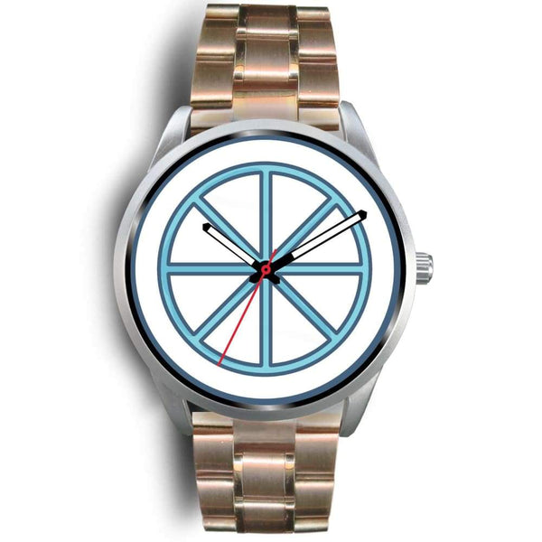 Sun Wheel Wiccan Symbol Custom-Designed Wrist Watch - Mens 40Mm / Rose Gold Metal Link - Silver Watch