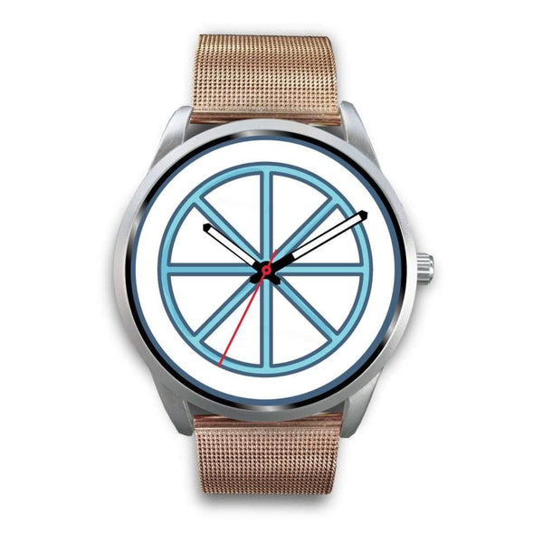 Sun Wheel Wiccan Symbol Custom-Designed Wrist Watch - Mens 40Mm / Rose Gold Metal Mesh - Silver Watch