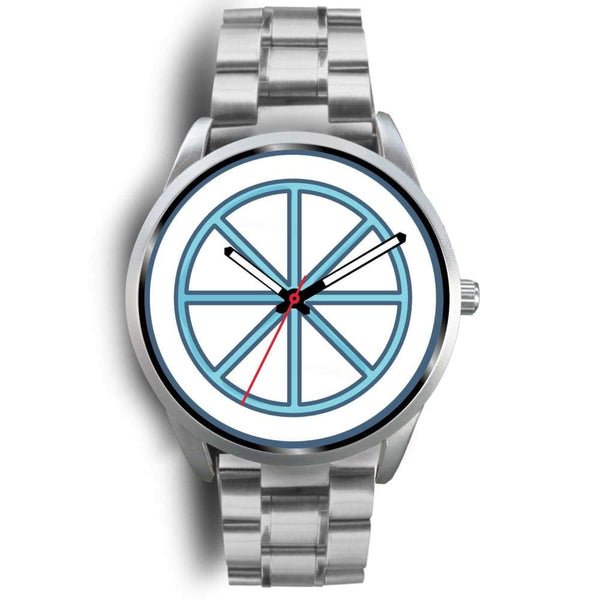 Sun Wheel Wiccan Symbol Custom-Designed Wrist Watch - Mens 40Mm / Silver Metal Link - Silver Watch