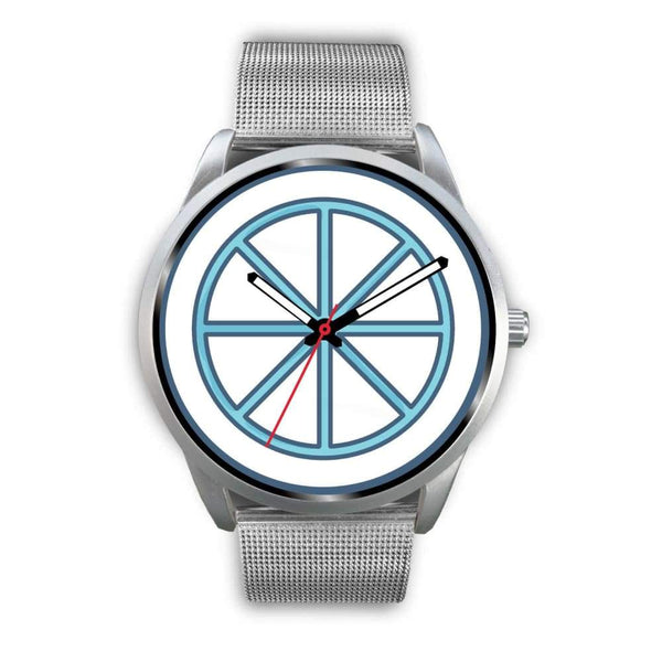 Sun Wheel Wiccan Symbol Custom-Designed Wrist Watch - Mens 40Mm / Silver Metal Mesh - Silver Watch