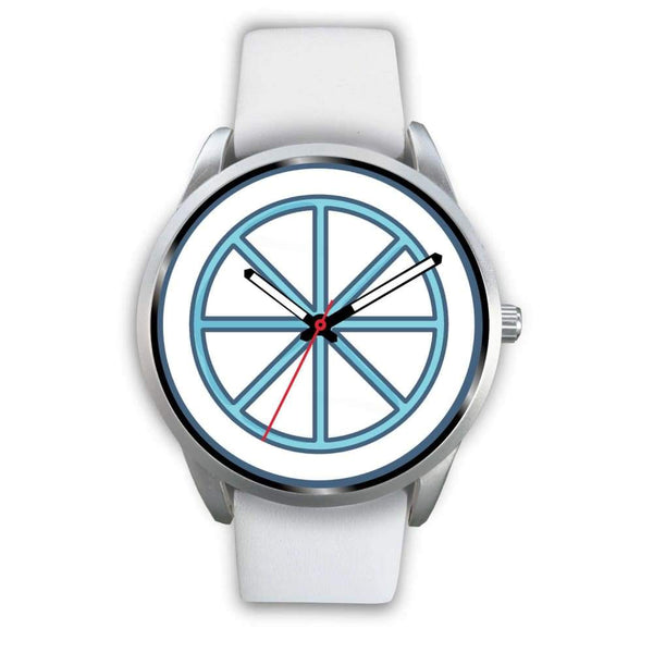 Sun Wheel Wiccan Symbol Custom-Designed Wrist Watch - Mens 40Mm / White Leather - Silver Watch