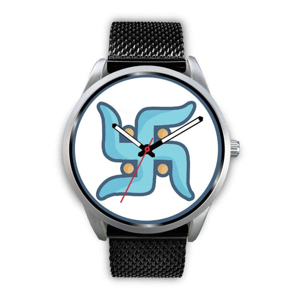 Swastika Hindu Spiritual Lucky Symbol Custom-Designed Wrist Watch - Mens 40Mm / Black Metal Mesh - Silver Watch