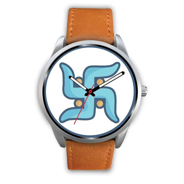 Swastika Hindu Spiritual Lucky Symbol Custom-Designed Wrist Watch - Mens 40Mm / Brown Leather - Silver Watch