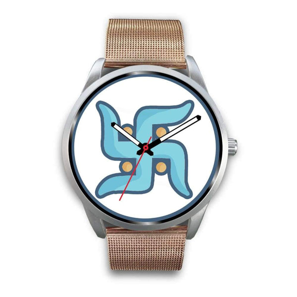Swastika Hindu Spiritual Lucky Symbol Custom-Designed Wrist Watch - Mens 40Mm / Rose Gold Metal Mesh - Silver Watch