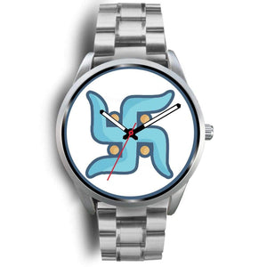 Swastika Hindu Spiritual Lucky Symbol Custom-Designed Wrist Watch - Mens 40Mm / Silver Metal Link - Silver Watch