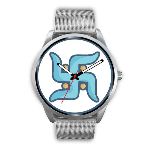 Swastika Hindu Spiritual Lucky Symbol Custom-Designed Wrist Watch - Mens 40Mm / Silver Metal Mesh - Silver Watch