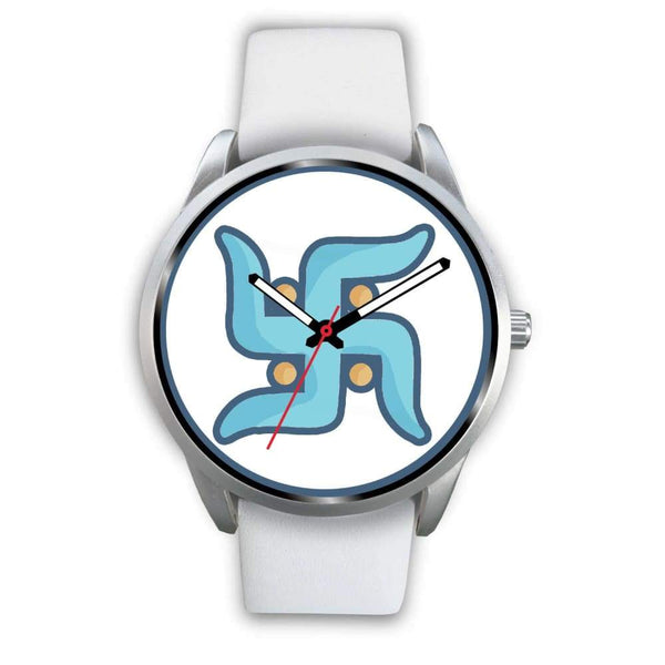Swastika Hindu Spiritual Lucky Symbol Custom-Designed Wrist Watch - Mens 40Mm / White Leather - Silver Watch