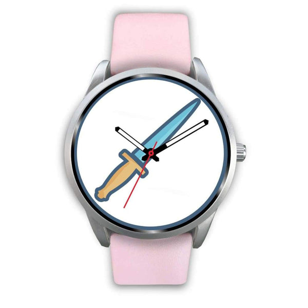 The Athame Wiccan Symbol Custom-Designed Wrist Watch - Mens 40Mm / Pink Leather - Silver Watch