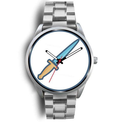 The Athame Wiccan Symbol Custom-Designed Wrist Watch - Mens 40Mm / Silver Metal Link - Silver Watch