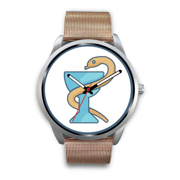 The Bowl Of Hygeia Ancient Greek Symbol Custom-Designed Wrist Watch - Mens 40Mm / Rose Gold Metal Mesh - Silver Watch