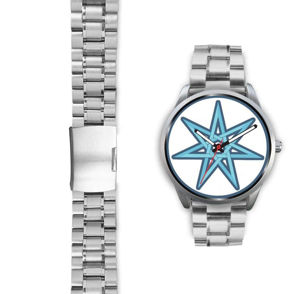 The Elven Star Wiccan Pagan Symbol Custom-Designed Wrist Watch - Silver Watch