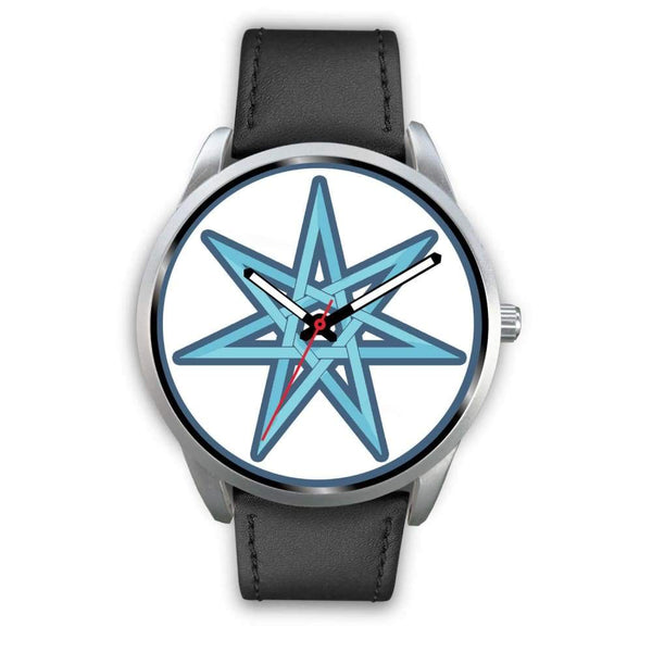 The Elven Star Wiccan Pagan Symbol Custom-Designed Wrist Watch - Mens 40Mm / Black Leather - Silver Watch