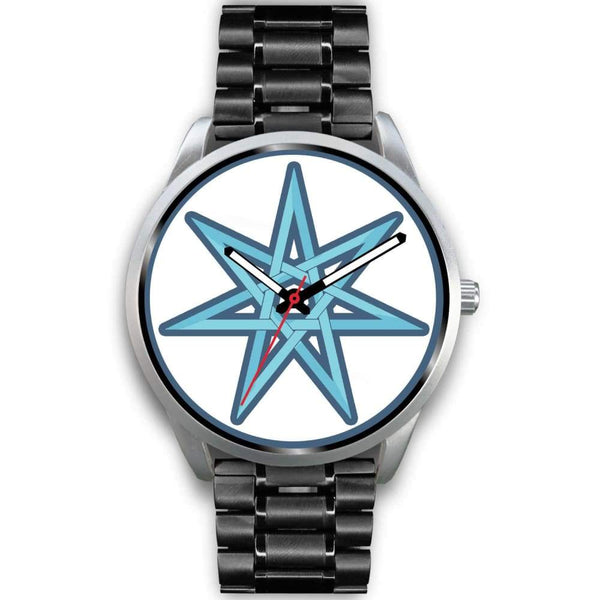 The Elven Star Wiccan Pagan Symbol Custom-Designed Wrist Watch - Mens 40Mm / Black Metal Link - Silver Watch