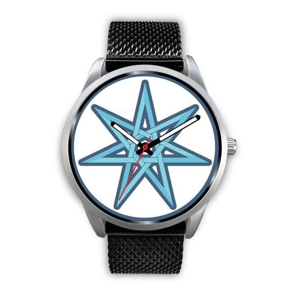 The Elven Star Wiccan Pagan Symbol Custom-Designed Wrist Watch - Mens 40Mm / Black Metal Mesh - Silver Watch